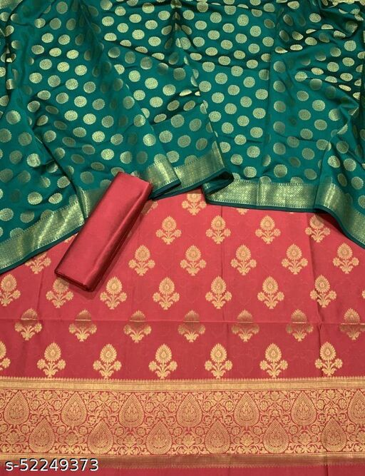 (5Peach) Fabulous Banarsi Contrass Matching Silk Suit And Dress Material