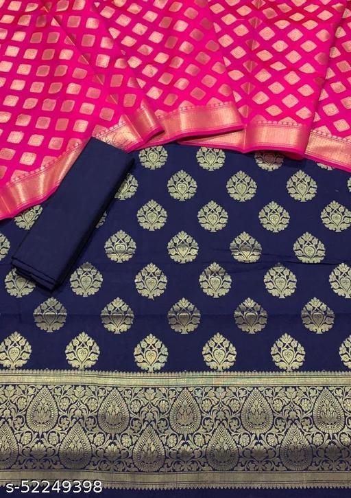 (6Navy Blue) Fabulous Banarsi Contrass Matching Silk Suit And Dress Material