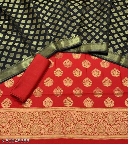 (6Red) Fabulous Banarsi Contrass Matching Silk Suit And Dress Material