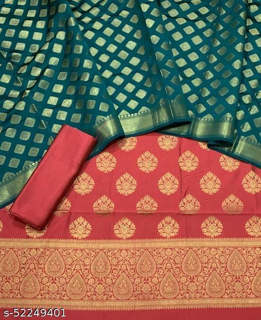 (6Peach) Fabulous Banarsi Contrass Matching Silk Suit And Dress Material