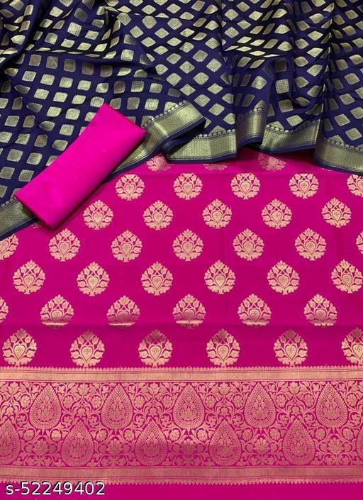 (6Pink) Fabulous Banarsi Contrass Matching Silk Suit And Dress Material