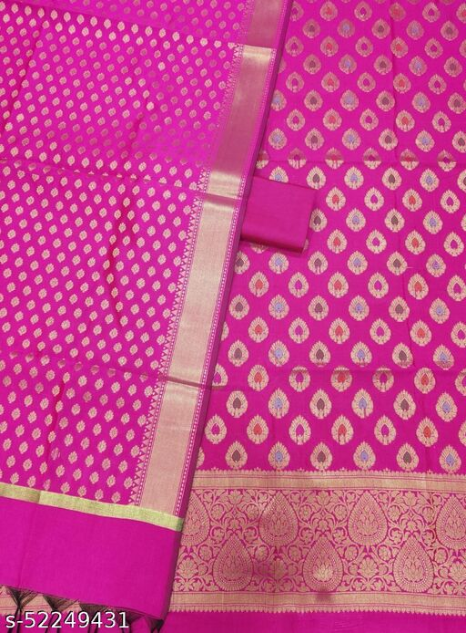 (7Pink) Fabulous Banarsi Multi Mina Silk Suit And Dress Material