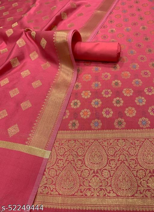 (8Peach) Banarsi Multi Mina Silk Suit And Dress Material