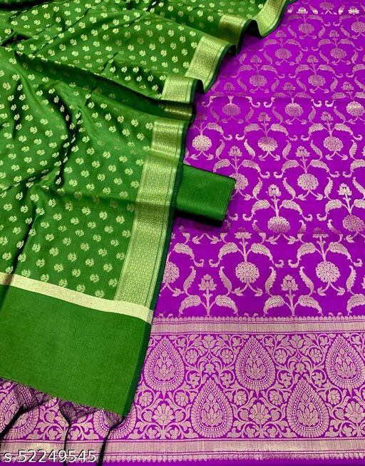 (11Purple) Fabulous Weddings Special Banarsi Jaquard Contrass Silk Suit And Dress Material