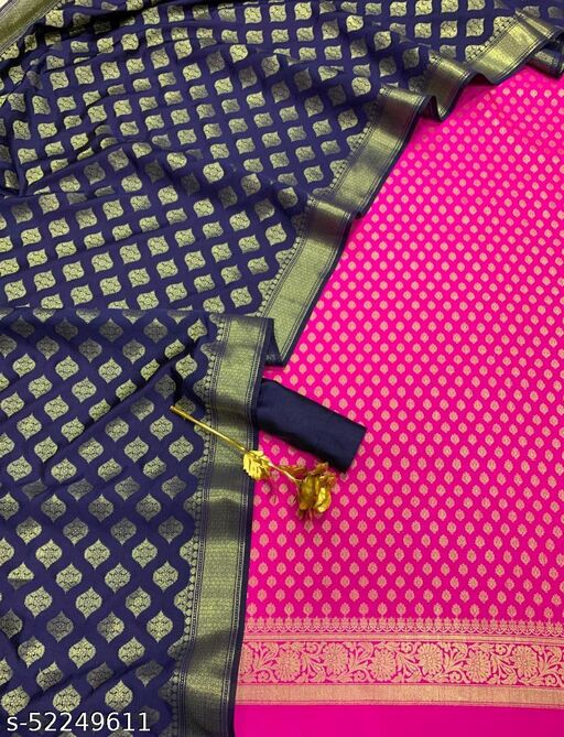 (14Pink) Weddings Special Banarsi Contrass Silk Suit And Dress Material