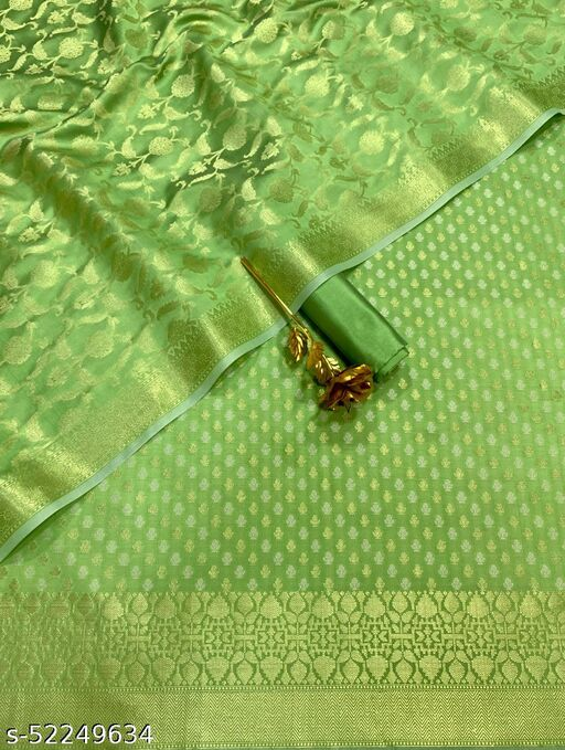 (15Mint Green) Fashionable TrenDy Banarsi Jaquard Silk Suit And Dress Material