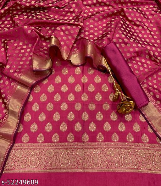 (17Peach) Exclusive Banarsi Jaquard Stone Work Silk Suit And Dress Material