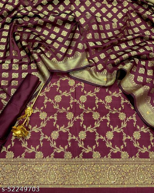 (18Maroon) Exclusive Banarsi Jaquard Stone Work Silk Suit And Dress Material