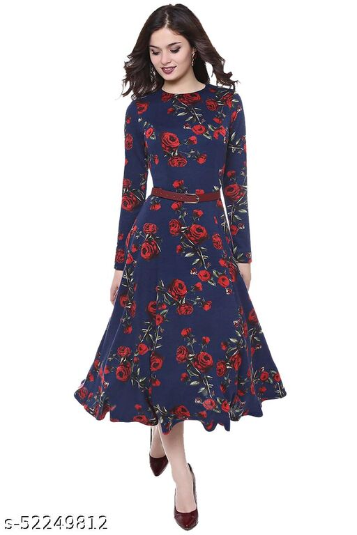Piercell Women's Fit And Flare Fancy Western Cotton Midi Dress