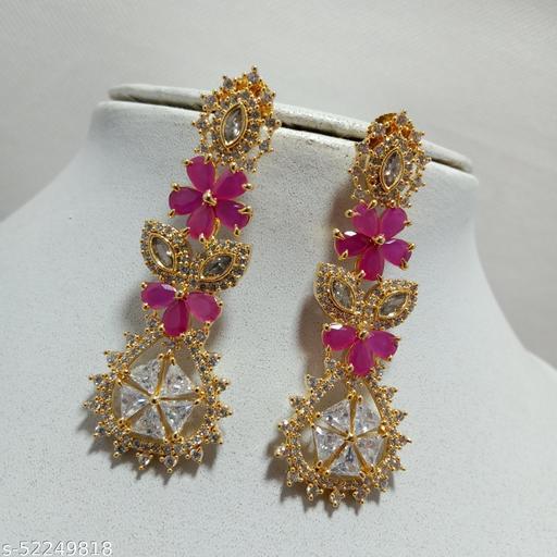 Premium Quality Gold Plated American Diamonds Earrings