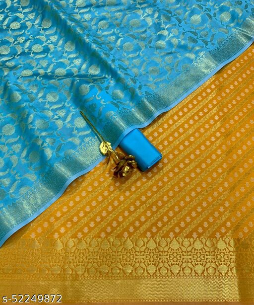 (16Mustard) Exclusive Weddings Special Banarsi Jaquard Contrass Silk Suit And Dress Material