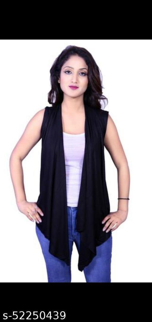 Women Sleeveless Black capes ,Shrug & ponchos