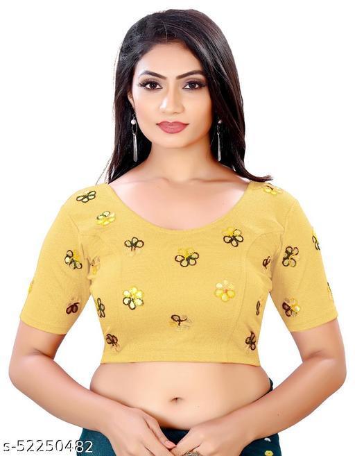 Stylish Gotapatti floral work, cotton lycra stretchable beautiful designer blouse.