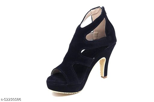 Shoogle Footwear Women's Black Western 4 Inch High Heel Fashion Sandal