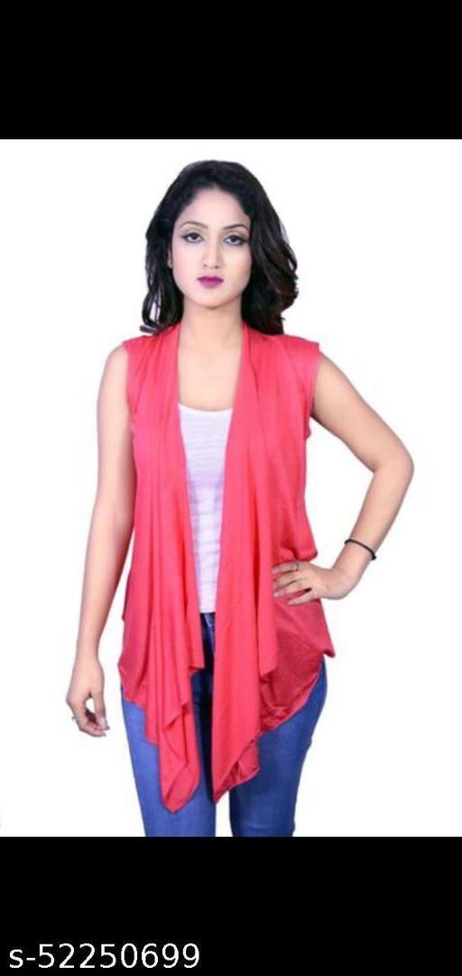 Women Sleeveless Pink Shrug