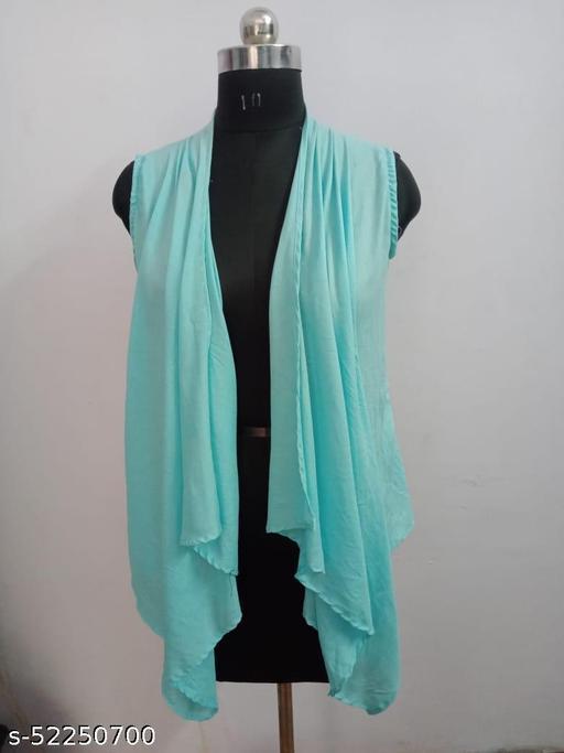 Women Sleeveless Aqua blue Shrug