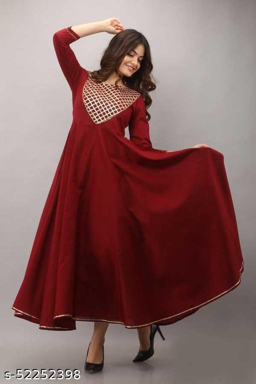 Women's Heavy Gota Work Yoke Design Long Gown