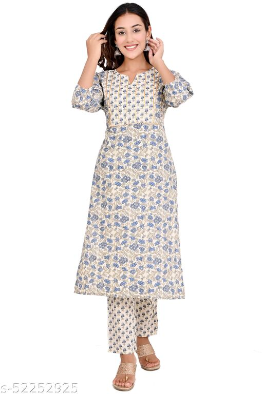 FASHIONABLE  BLUE COTTON KURTI WITH PANT SET, HIGH QUALITY COMFORTABLE CAMBRIC COTTON FABRIC