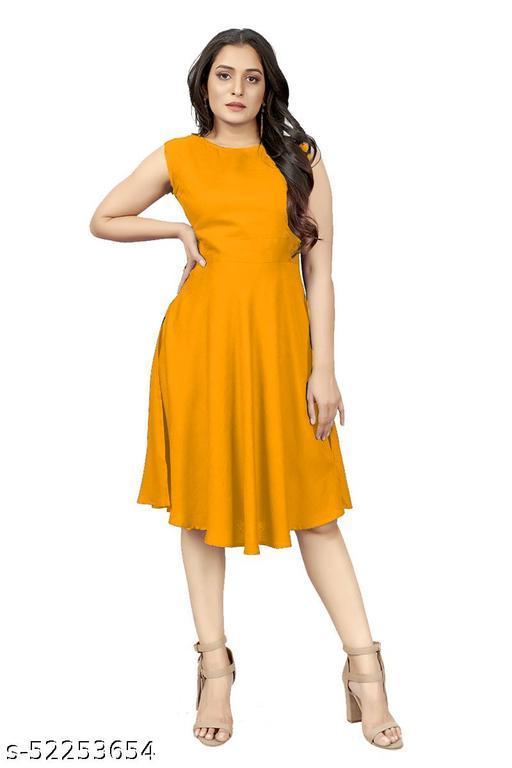 Piermart Women's Fit And flare Fancy Western Midi Dress