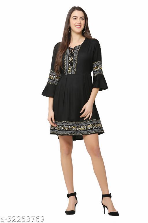Glansi Women Printed Dress   Knee Length   A-line Dress