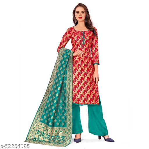Virra Fashion Women's Banarasi Silk Unstitched Dress Material