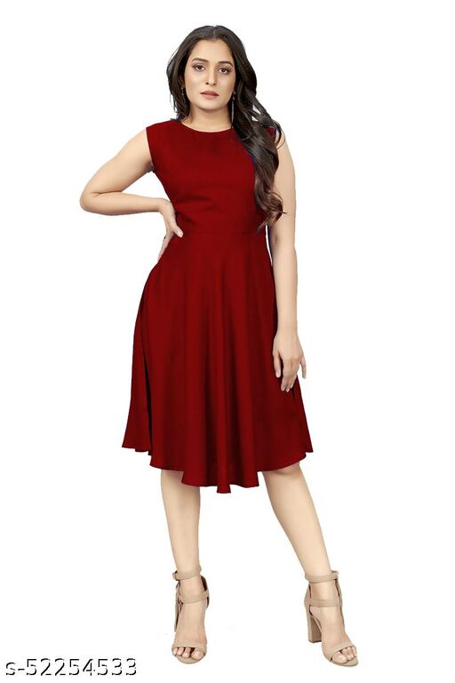Piercell Women's Fit And flare Fancy Western Midi Dress