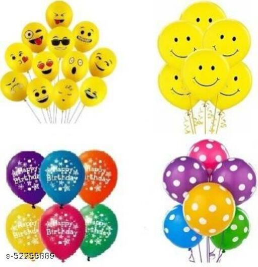 Complete Party Combo Mix (Emoji, Smiley, Polka Dot, Happy Birthday) Balloon  (Yellow, Multicolor, Pack of 40)
