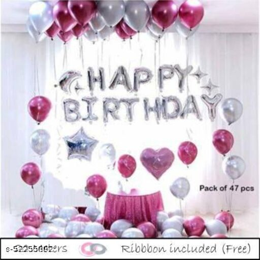 """Solid Solid Happy Birthday Foil balloon Set Of 57 Balloons 13 Happy Birthday Foil Balloon 2 Silver Star 2 Pink Heart Foil Balloon 18"""" 40 Pink Silver Metallic Balloon Balloon  (Silver, Pink, Pack of 57)"""
