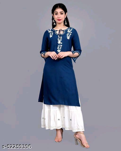 Women's Rayon Embellished Kurta and Sharara Set