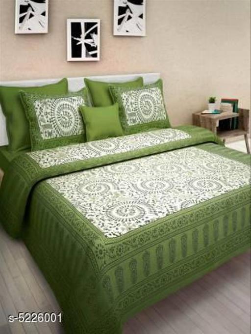 Trendy  Sanganeri Print Cotton100*90 Queen Double Bedsheet
