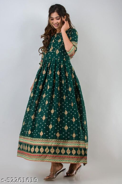 Women's Rayon Gold Printed Long Anarkali Style Gown