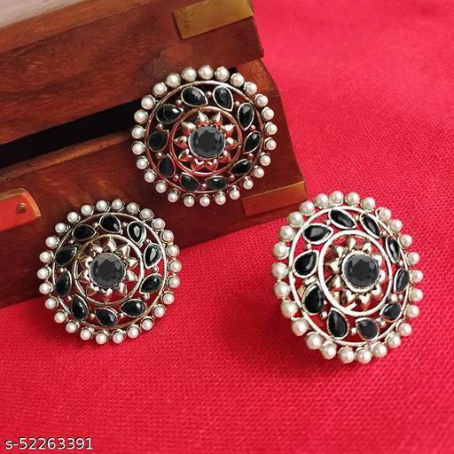 Desinger Beautiful Combo Pack Of Pearl Earrings & Ring For Women & Girls - Black