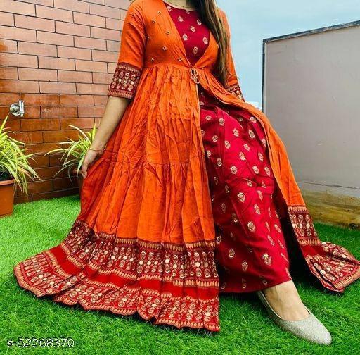 Women Orange Printed Shrug Kurta With embroidery work