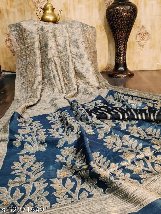 Shangreela Raw silk Katha Printed grey coloured  Saree with Soft cotton Ikkat Printed Black Blouse piece