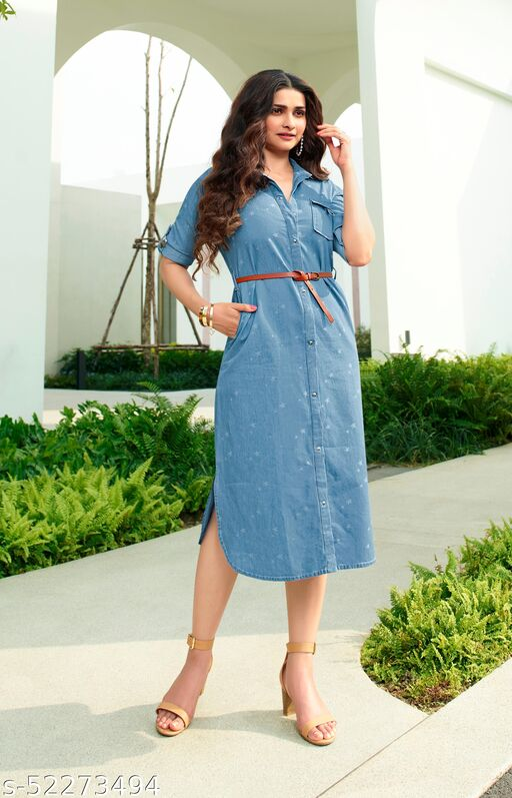 Long Kurti Light Blue Shirt Collar Denim KR5-LIGHTBLUE
