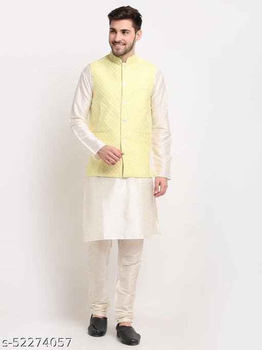 Men Embroidered Nehru Jacket & Kurta Pyjama