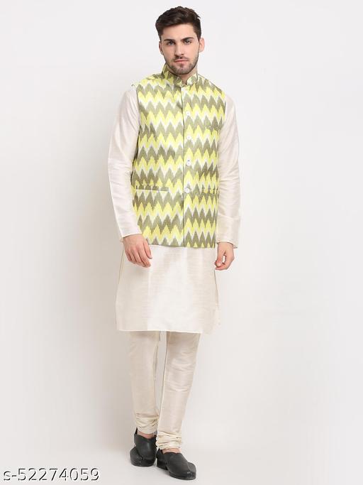 Men Ikat Print Nehru Jacket & Kurta Pyjama