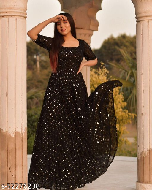 Breathtaking Black Coloured Partywear Embrodeiry Georgette Gown