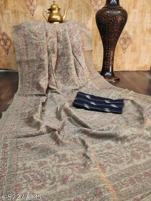 KB30 Raw silk Katha Printed grey coloured  Saree with Soft cotton Ikkat Printed Black Blouse piece