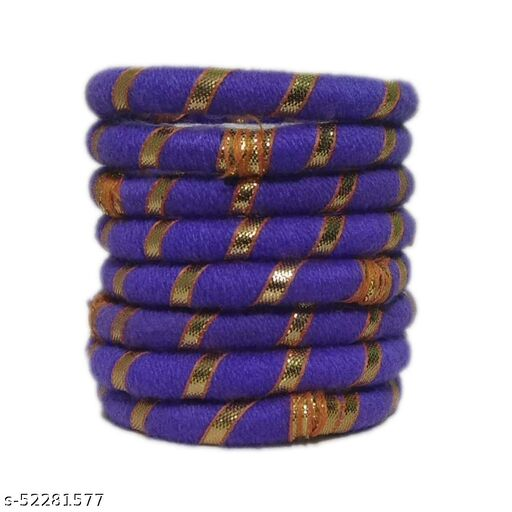 Women's 8 Pc Set Woolan Thread Gotta Line  Purple Bangles