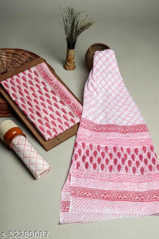 Cotton 3 PC Unstitched Pink Pigment Print Booti Pattern Suit & Dress Materials
