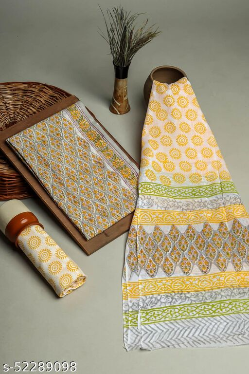 Cotton 3 PC Unstitched Yellow Pigment Print Booti Pattern Suit