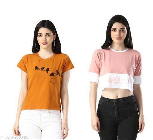 Diwali Special WoMen Cotton Lycra Printed Tshirt Combo