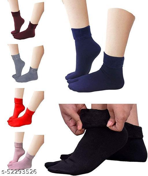 Missby® Multicolour Velvet Fleece Fur Winter Thermal Thumb socks for Women and Girls (Pack of 6 Pairs)