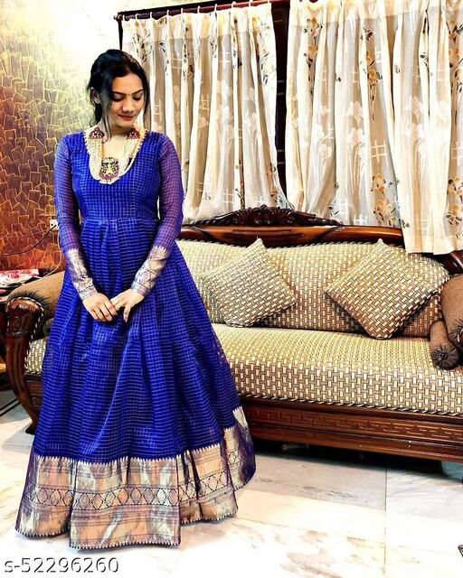 Exceptional Royal Blue Colored Partywear Organza Jacquard Gown