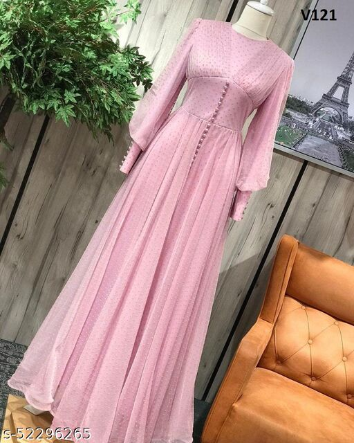 Desirable Light Pink Colored Partywear Georgette Gown