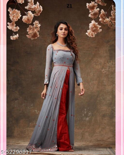 High Demanding Beautiful Grey colored Embrodeiry top and bottom set