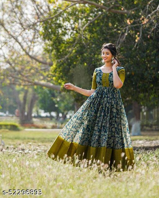 Beautiful Mehendi Green Colored Floral Printed Floor Touch Gown