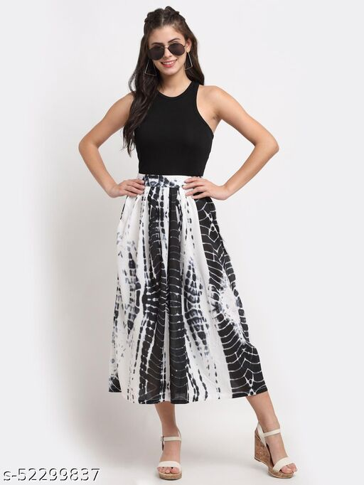 BRINNS Women's White and Black solid color tie and dye print maxi skirt