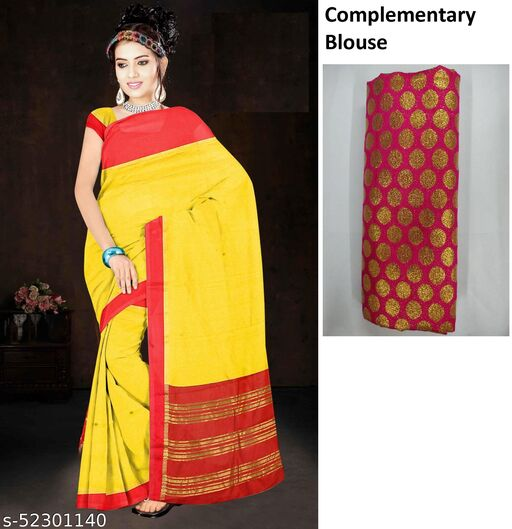 Jute Cotton Saree With Complementary blouse